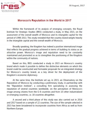 Summary of report : Morocco's Reputation in the World in 2017
