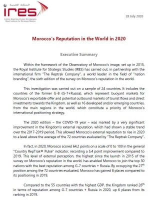Morocco's Reputation in the World in 2020 : Executive Summary