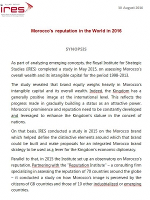 Morocco's reputation in the World in 2016